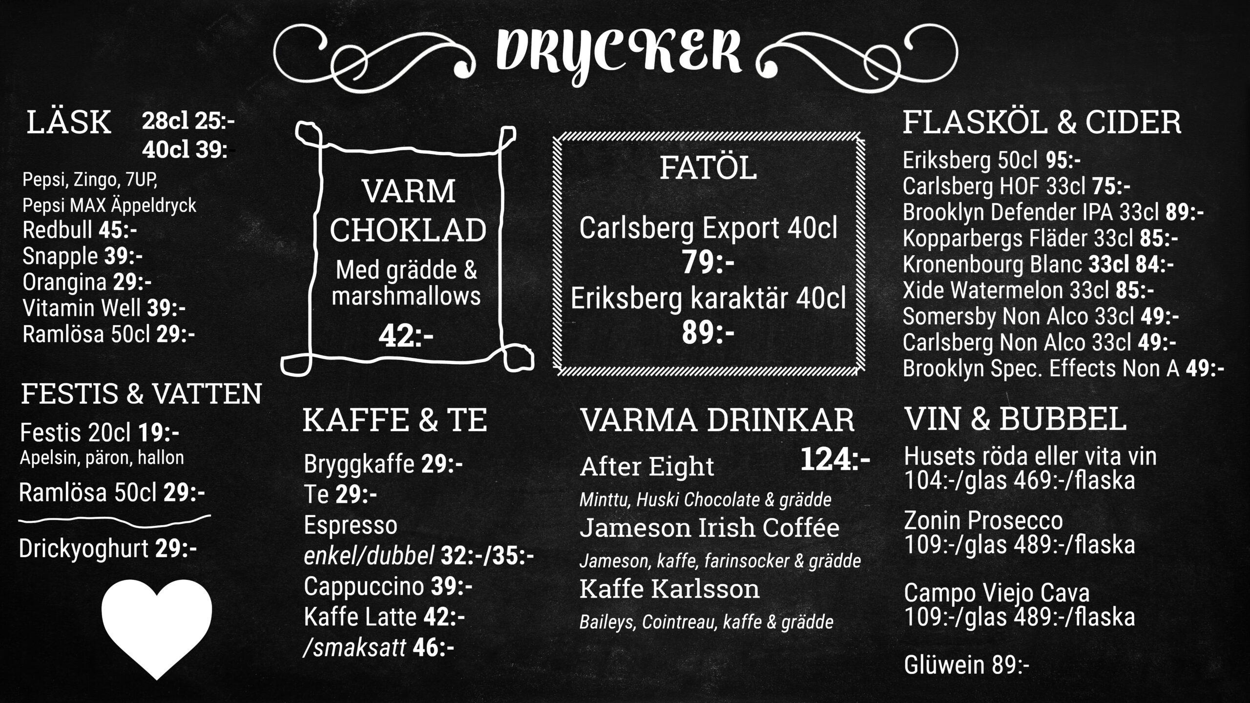 Cafe Drycker skärm